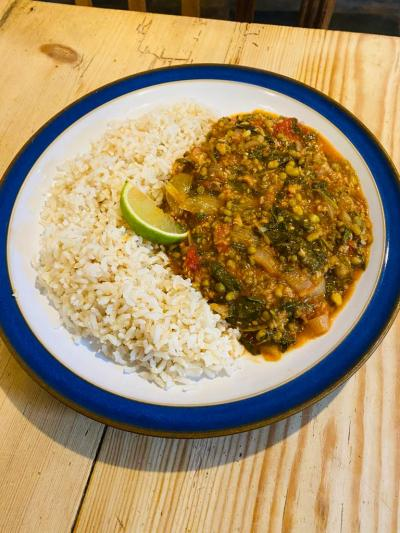 MUNG BEAN, TOMATO AND SPINACH CASSEROLE