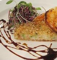 Prawn sesame toast and seared king prawns